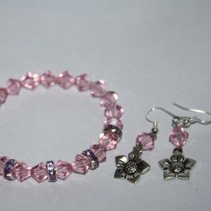 NWOT Pink purple flower bracelet earrings set